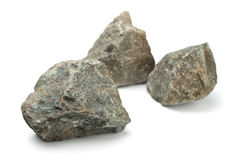 Rocks. Three pieces of raw rocks isolated on white Royalty Free Stock Image
