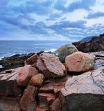 Rocks At Thunder Hole. The Rocky Acadia Seacoast On A Rainy And Stormy Day At Thunder Hole, Acadia National Park, Maine, USA Stock Photography