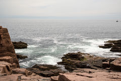 The rocks at Thunder Hole in Acadia National Park in Maine. Thunder Hole in Acadia National Park in Maine USA Stock Photos