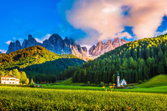 The rocks of Tirol and green forest Stock Image