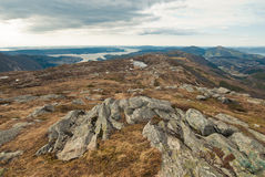 Rocks on top. Landscape of mountains in Norway Royalty Free Stock Photography