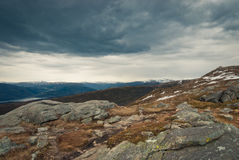 Rocks on top. Landscape of mountains in Norway Stock Images