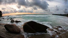 Rocks at topical beach at beautiful sunset stock video footage