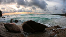 Rocks at topical beach at beautiful sunset. Nature background stock video