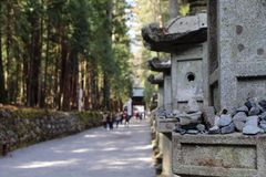 Rocks and toros lighting around Futarasan Shrine, in the compl. Ex of Toshogu Temple. Taken in Nikko, February 2018 stock photography