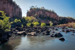 Rocks and trees blocking the river at Katherine Gorge Stock Image