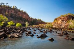 Rocks and trees blocking the river at Katherine Gorge, Northern Stock Image