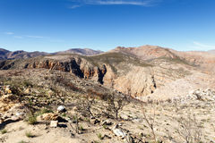 Rocks and trees on the mountain -The Swartberg Pass Stock Images