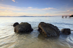 Rocks at a tropical beach in Sabah, Borneo Stock Images