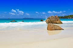 Rocks on tropical beach Seychelles Stock Image