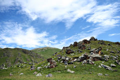 Rocks in the valley in Caucasus mountains Royalty Free Stock Image
