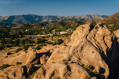 Rocks and view of distant mountains at Vasquez Rocks County Park Royalty Free Stock Images