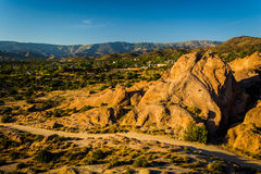 Rocks and view of distant mountains at Vasquez Rocks County Park Royalty Free Stock Photo