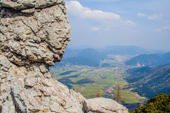 Rocks. View from the mountain trails on the town Puchberg am Schneeberg Stock Images