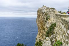 Rocks, views of Cape formentor in the tourist region of Mallorca. Located northeast of the island Royalty Free Stock Images