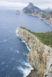 Rocks, views of Cape formentor in the tourist region of Mallorca. Located northeast of the island Royalty Free Stock Photo