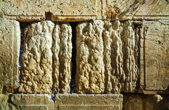 Rocks of the Wailing wall close up in Jerusalem Royalty Free Stock Photo