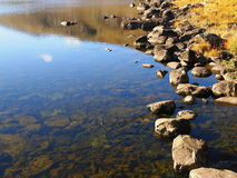 Rocks and water. Rocks on the edge of a placid Llyn Mymbyr, Snowdonia Royalty Free Stock Image