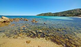 Rocks and water in Cala Battistoni Stock Photo