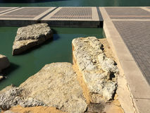 Rocks and water landscapes deign in a park Stock Photography