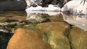 Rocks and water with nature sounds. Low shot of rocks and water with nature sounds in africa stock video