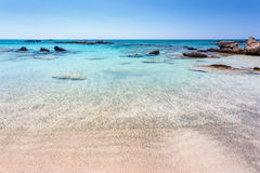 Rocks in the water near the shore at Elafonisi beach. Crete. Greece. Royalty Free Stock Photos