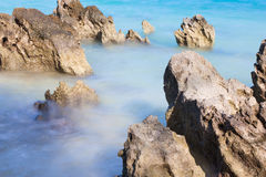 Rocks on the water. The photo shows the Bermuda beach Stock Photos