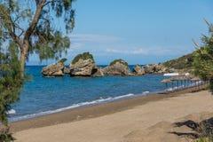 Rocks in the water of Porto Kaminia beach, Zakynthos island Stock Photography