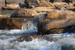 Rocks and Water. A small lazy river with water flowing over the rocks represent a fresh natural feeling. Photo was taken in South Africa during a cool winters Royalty Free Stock Photo