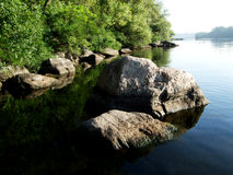 Rocks in the water with threes. Rocks and stones  in the water along the shore Stock Images