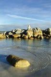 Rocks and waves, Bay of Fires, Tasmania Royalty Free Stock Image