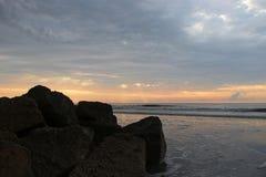 Cloudy sunrise Folly Beach South Carolina royalty free stock images