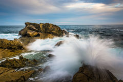 Rocks and waves in the Pacific Ocean at Monument Point. Heisler Park, Laguna Beach, California stock photography
