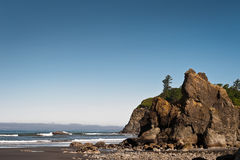 Rocks and waves in quiet beach of Ruby Beach Royalty Free Stock Photos