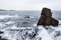 Rocks and waves in Sozopol stock photography