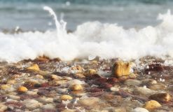 The rocks were washed away at the beach,. Naturally background and texture stock images