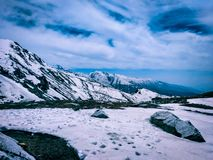 A landscape of himalayan snow on the top of mountain royalty free stock images