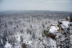 Rocks winter landscape. Ural mountains. Russia Royalty Free Stock Image