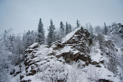 Rocks winter landscape. Ural mountains. Russia Royalty Free Stock Images