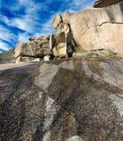 Rockscape granite mountain landscape cloud sky.  Royalty Free Stock Images