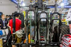 RockShox American bicycle suspensions manufacturer booth with promotion sale in International Bangkok Bike 2018 royalty free stock images