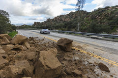 Rockslide Roadway Los Angeles Royalty Free Stock Images