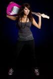 rockstar女孩的吉他 图库摄影