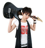 Rockstar. Asian rockstar with guitar isolated on white Stock Image