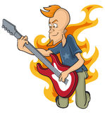 Rockstar. Punk rock gutarist performance with fire tribal isolated in background Stock Image