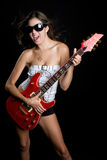 Rockstar Girl. Rockstar singing girl holding guitar Royalty Free Stock Image