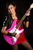 Rockstar Girl. Playing electric guitar Royalty Free Stock Photos