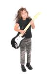 Rockstar girl child. A young female child playing guitar like a rockstar over white Stock Image