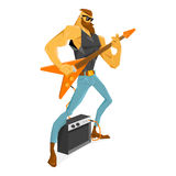 Rockstar guitarist with the beard is playing the guitar. Royalty Free Stock Images