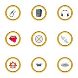 Rockstar icons set, cartoon style Royalty Free Stock Images